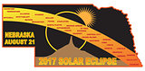 2017 Solar Eclipse Across Nebraska Cities Map Illustration
