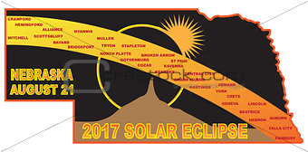 2017 Solar Eclipse Across Nebraska Cities Map Illustration