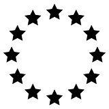 Stars in circle the black color icon .