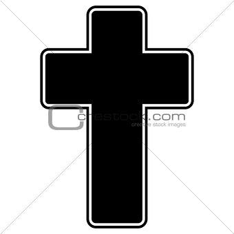 Church cross the black color icon .