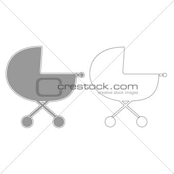 Baby carriage  grey set  icon .