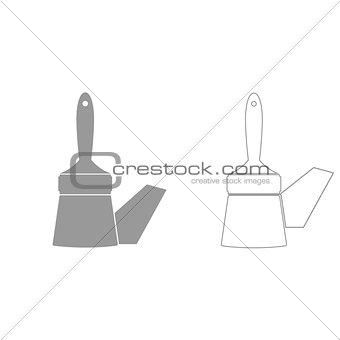 Paint brush  grey set  icon .