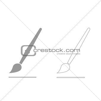 Art paint brush  grey set  icon .