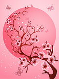 Beautiful Cherry blossom background. Spring nature scene