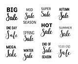 Vector sale calligraphy designs set