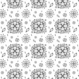 Vector black and white flower seamless pattern.