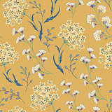 Cute vector seamless floral pattern with flowers and herbs.