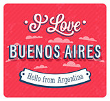 Vintage greeting card from Buenos Aires - Argentina.