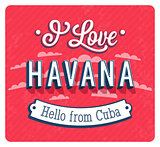 Vintage greeting card from Havana - Cuba.