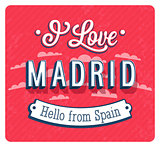 Vintage greeting card from Madrid - Spain.
