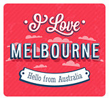 Vintage greeting card from Melbourne - Australia.