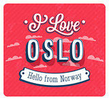 Vintage greeting card from Oslo - Norway.