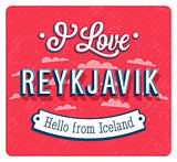 Vintage greeting card from Reykjavik - Iceland.