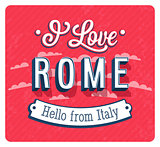 Vintage greeting card from Rome - Italy.