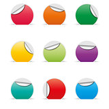 Set of empty paper stickers with space for text, vector illustration.
