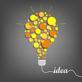 Abstract idea background with orange yellow bulb