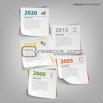 Time line info graphic with abstract note paper template