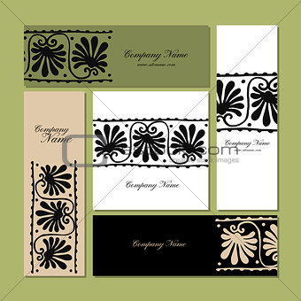 Business cards design, ethnic floral ornament