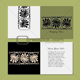 Greeting card design, ethnic floral ornament
