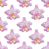Pattern with pink orchids