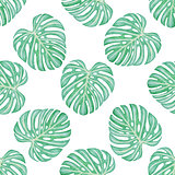 Pattern with green tropical leaves