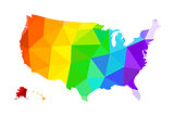 The LGBT flag in the form of a map of the United States of America