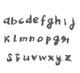 Hand drawn alphabet written with brush pen.