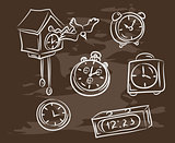 Collection of hand-drawn clock on blackboard. Retro vintage style .