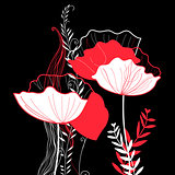 Vibrant vector greeting card with poppies