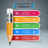 Business Infographics. Pencil icon.