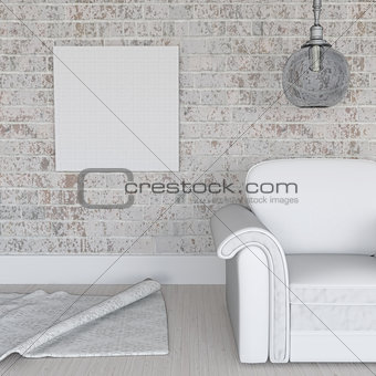 3D blank canvas on grunge brick wall in room interior