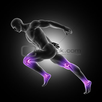 3D male figure in sprinting pose with leg joints highlighted
