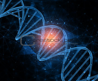 3D medical background with connecting dots and DNA strands