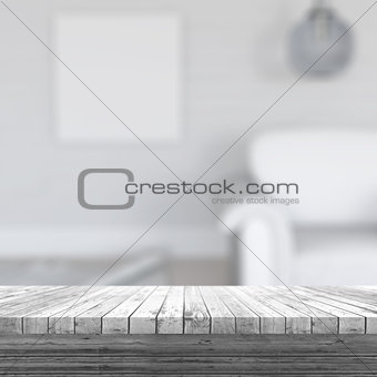 3D white wooden table looking out to a defocussed room interior