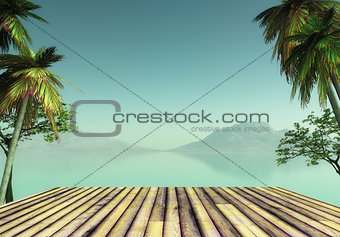 3D wooden deck looking out to a tropical landscape