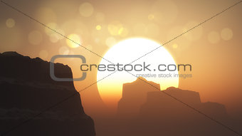 3D cliffs and mountains at sunset