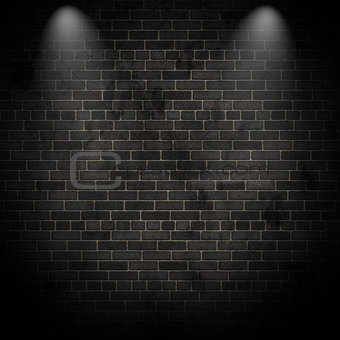 3D spotlights on a grunge brick wall