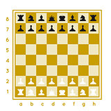 Chess set vector illustration on white background with a chessboard