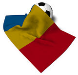 soccer ball and flag of romania - 3d rendering