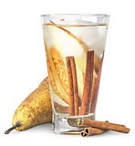 Pear and cinnamon in sweaty glass of lemonade