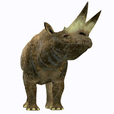 Arsinoitherium Mammal on White