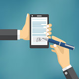 Businessman Hands signing Digital signature.