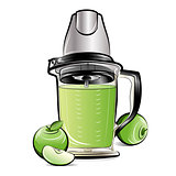 Drawing color kitchen blender with Apple juice