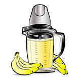 Drawing color kitchen blender with Bananas juice