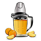 Drawing color kitchen blender with Orange juice