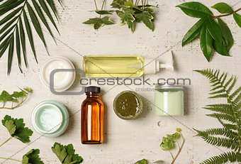 green cosmetic arrangement