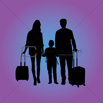 traveling family at the airport