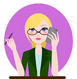 Support manager woman icon. Vector cartoon flat illustration