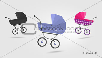 Baby stroller Isolated on white background. Cartoon pram illustrated. Trendy style for graphic design, Web site, social media, user interface, mobile app.