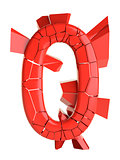 Futuristic red cracked number. 3D illustration